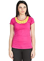 Zovi Viscose Mexican Pink Lacey Top (S143KTF00F02_X-Small)
