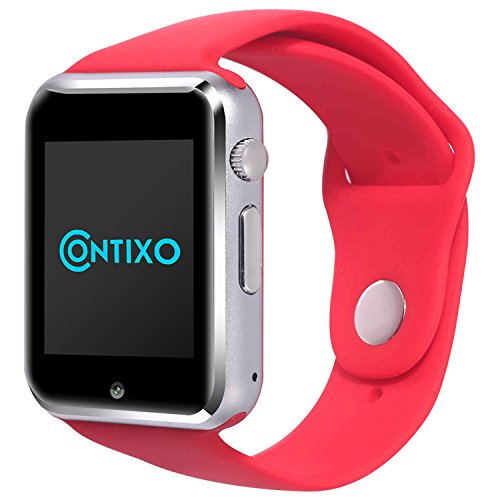 *Christmas Sale* Contixo Smart Watch Phone /Bluetooth/Easy Connection/Make Calls/Support SIM/TF for Apple iPhone 5s/6/6s and Android 4.2 or Above SmartPhones (Red)