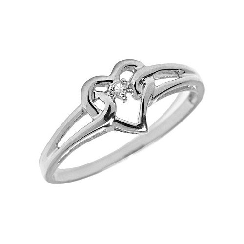 14K White Gold Diamond Heart Ring (Size 10.5)