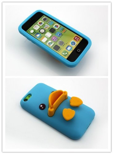 Big Dragonfly High Quality Silicone Super Lovely 3D Duck Design Stand Back Case For Apple Iphone 5C With Landscape And Portrait Angle (Blue & Yellow) front-705934