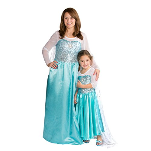Women Snow Queen Costume Dress Halloween Party Dress Up (Small)
