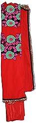 Seemas Women's Georgette Dress Material (SB20, Tomato Red)