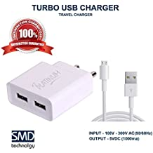 Micromax Canvas Ego A113 Mobile Charger Compatible Charger Adapter 2 Amp Genuine Original High Speed Certified Wall Charger / Travel Charger / Mobile Charger With 1 Meter Micro USB Cable By Shoppawar ( 2 Ampere, White),With 2 Usb Slots
