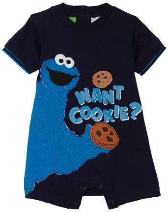Amazon.com: Sesame Street Baby Boys Cookie Monster Romper, Navy, 24