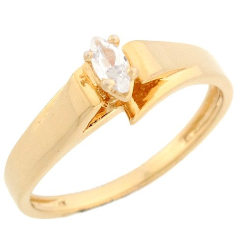 14k Yellow Gold Marquise CZ Traditional Solitarie Promise Ring