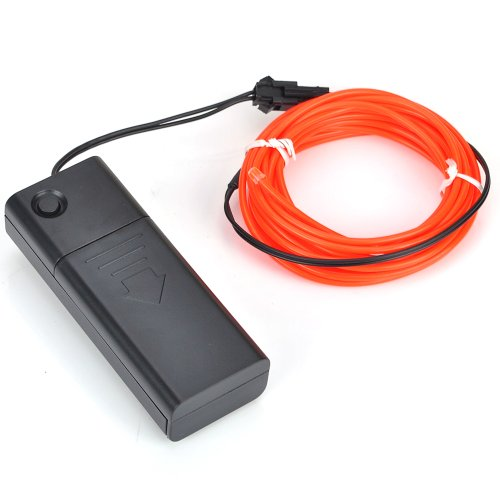 NEW 9FT EL Wire Red Neon Rope Strobe Glowing Light for Car Bicycle Party + Battery Case USA
