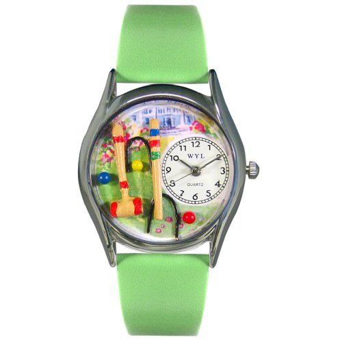 Whimsical Watches Women's S0810017 Croquet Green Leather Watch