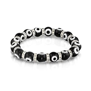 Bling Jewelry Evil Eye Beads 10mm Black Stretch Swarovski Crystal Bracelet 7.5 Inch