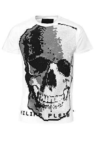 """Philipp Plein """"White Pilot"""" Weiss T-Shirt Shirt Designer Shirt Bedruckt Für Herren und Männer Slim Fit Slim Fit Rundhals mit Print und Applikationen (XL) thumbnail"""