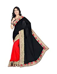 Winza Best Georgette Fancy Wedding Saree For Women Girls Wit Embroidered Lace Border & Top Exclusive Offers