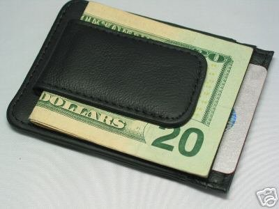Fine Leather Hand Crafted Mans Man's Mens Men's Mini Wallet Credit Card ID Holder with Money Clip
