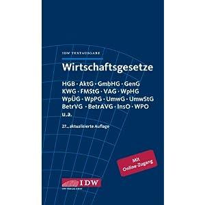 eBook Cover für  Wirtschaftsgesetze IDW Textausgabe