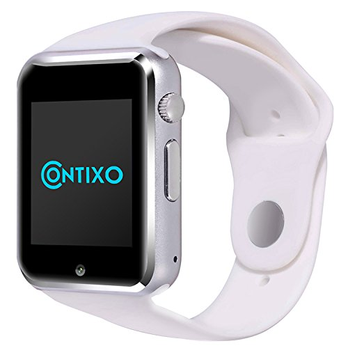 *Christmas Sale* Contixo Smart Watch Phone /Bluetooth/Easy Connection/Make Calls/Support SIM/TF for Apple iPhone 5s/6/6s and Android 4.2 or Above SmartPhones (White)