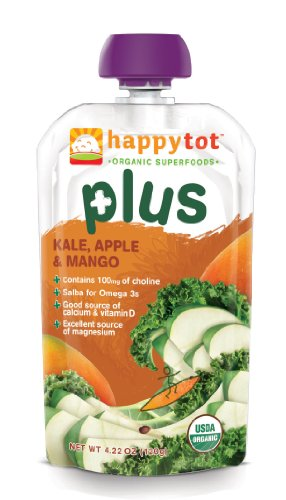 Happy Tot Plus Organic Baby Food Kale Apple and Mango 4 22 Ounce Pouches Pack of 16