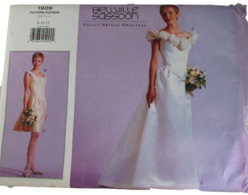 Vogue 1909 Pattern Bridal Original Bellville Sassoon Misses Bustier and Skirt Size 8,10,12