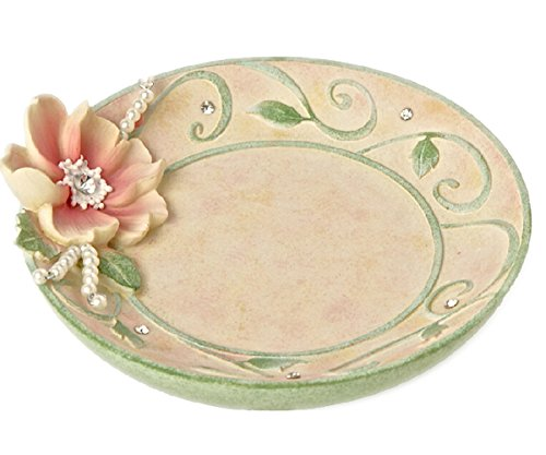 "Vas Small Resin Jewelry Trays ""Lotus"" Floral Garden Style Diamond Decoration front-293887"
