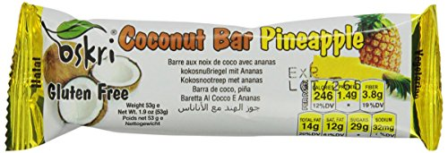 Oskri Coconut Bar With Pineapple, Gluten Free, 1.9-Ounce Bars (Pack Of 20)