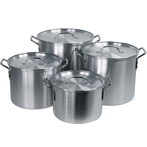 Hoffritz 4-Piece Nesting Aluminum Stockpot Set with Lids