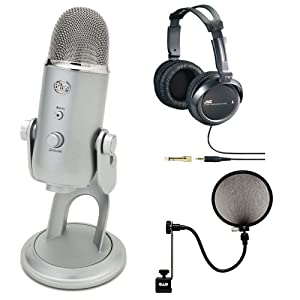 blue microphones yeti usb multi pattern microphone with full size studio headphones. Black Bedroom Furniture Sets. Home Design Ideas