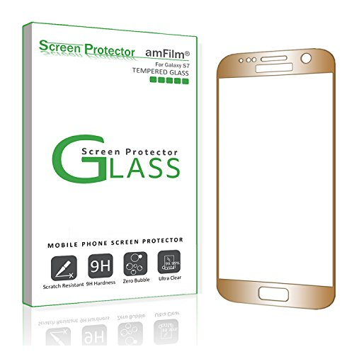 Galaxy S7 Screen Protector Glass (Full Screen Coverage), amFilm Bye-Bye-Bubble Samsung Galaxy S7 Gold Tempered Glass Screen Protector [Case-Friendly] AT&T Verizon 2016[Gold]