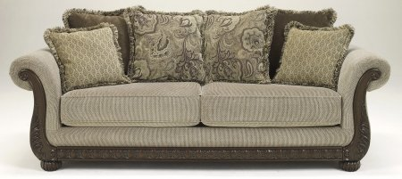 Benchcraft 8420138 Gracie-Anne Sofa with Light Toned Chenille Upholstery Scrolling Ornate Showood Trim and Six Accent Pillows in