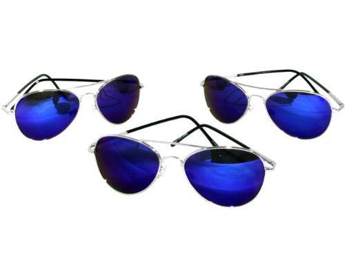 G&G Chrome Metal Mirrored Aviator Sunglasses (3 Blue Mirror)
