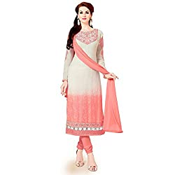MD Textiles Women Georgette Dress material (Megha_9002_White_White_Free Size)
