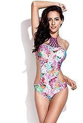 RELLECIGA Women's Handmade Digital Lattice One-piece Swimsuit