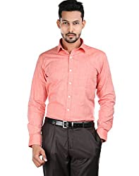 Oxemberg Men's Solid Formal 100% Cotton Coral Shirt