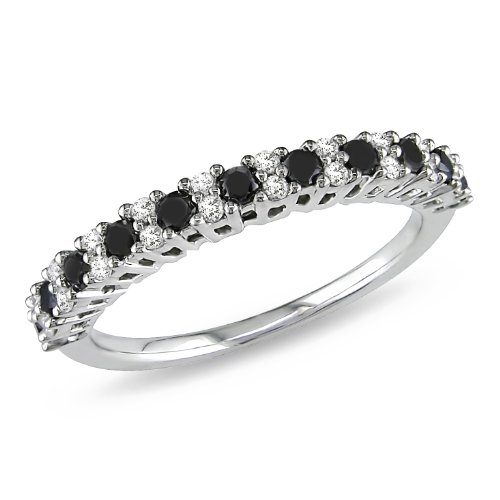 Sterling Silver 1/2 CT TDW Black and White Diamond Eternity Ring (G-H, I3)