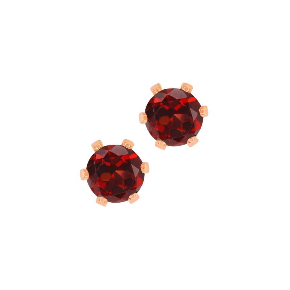 Round Red Garnet Rose Gold Plated 6 prong Stud Earrings 6mm Jewelry