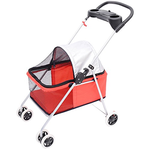 Pawhut Covered Folding Pet Stroller For Dogs And Cats - Red front-266700