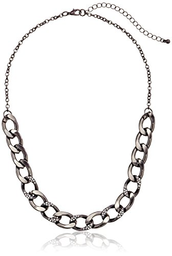 "Hematite Tone And Pave Flat Chain Link Necklace, 18""+3"" Extender"