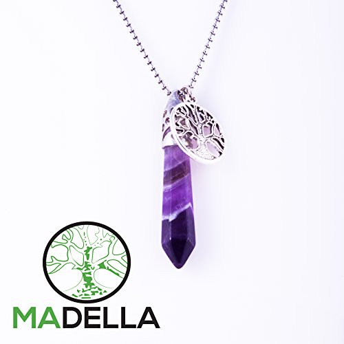 Madella Amethyst Healing Crystal and Tree of Life Pendant Necklace (Opal Crystal Wand compare prices)