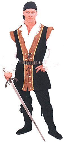 Large Adult Black/Rust Renaissance Pirate Costume (Size 44-46)