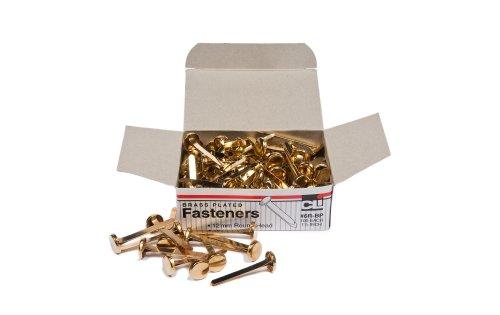 Charles Leonard Inc., Fasteners, Round Head, Brass Plated 1-1/2 Inches Shank, 12 mm Head, 100/Box (6R-BP)