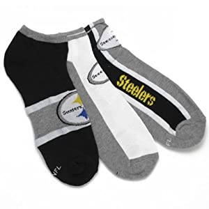 Pittsburgh Steelers Men's 3-Pack No Show Socks by Gertex