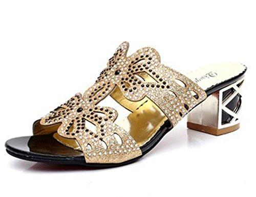 Minetom Donne Moda Elegante Estate Pantofole Finto Strass Fiore Farfalla Sandali Peep Toe Pantofol Nero A 39