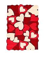 ABC Tappeti Alfombra Hearts Rojo/Beige 115 x 168 cm