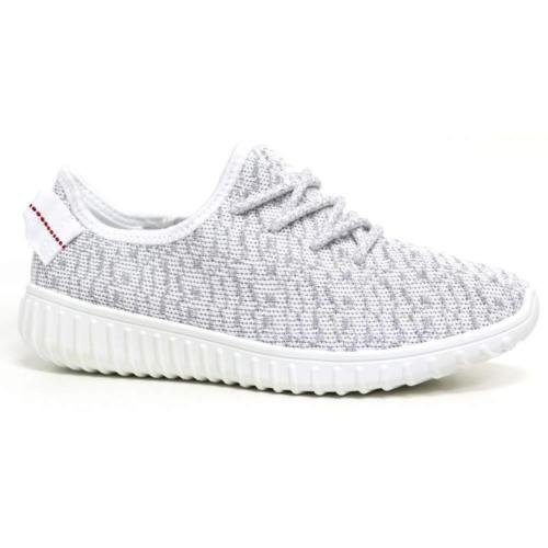 new-womens-ladies-girls-running-yeezy-inspired-textured-trainers-lace-up-flats-white-silver-shoes-si