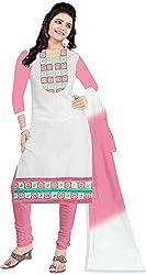 RADHE STUDIO Women's Cotton Un-Stitched Salwar Suit (RS10, White)