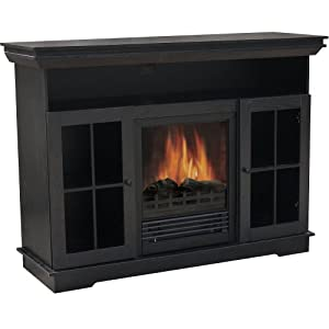 Quality Craft M405-48FBK Media Console with Electric Fireplace Heater 1250-watt, Black