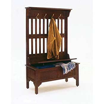 Home Style 5648-49 Full Hall Tree and Storage Bench, Cherry Finish