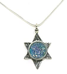 Roman Glass Star of David Necklace - by Ben-Zion David