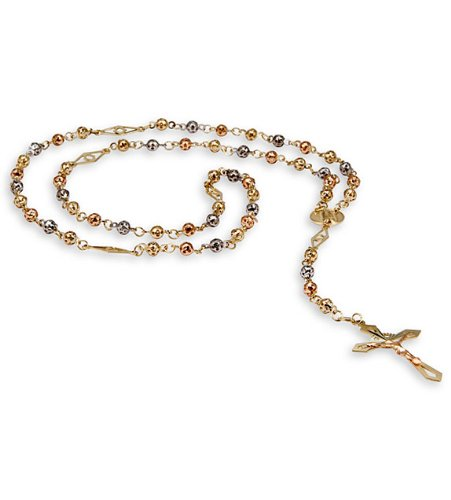 14K Yellow White Rose Gold Beaded Rosary Cross Necklace