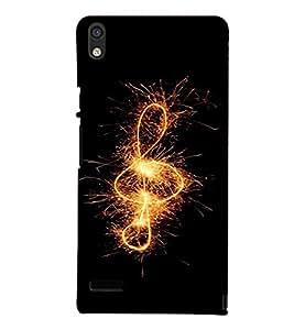 PrintVisa Music Note Fireworks Design 3D Hard Polycarbonate Designer Back Case Cover for Huawei Acend P6