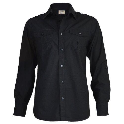 old-navy-chemise-hommes-noire-coupe-classique-decontractee-a-manches-longues