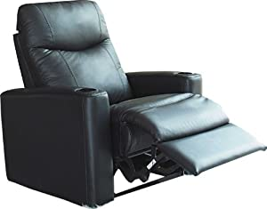 Showtime Collection Black Leather Motion Home Theater Chair Recliner