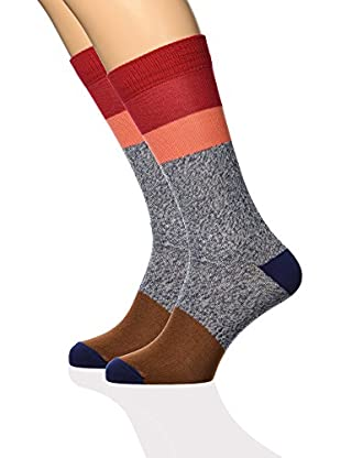 ISOK Calcetines N° 076Xc (Gris / Rojo / Coral)