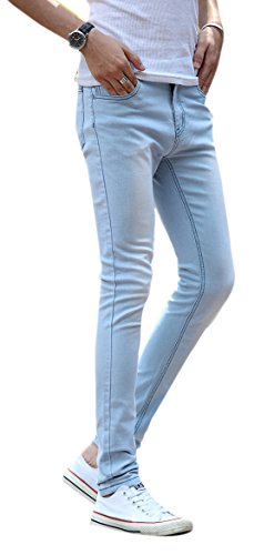 Men's Light Blue Skinny Jeans Stretch Washed Slim Fit Straight Pencil Pants, 32 (Jeans Blue Light For Men compare prices)
